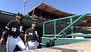 GLENDALE, AZ - MARCH 05:  Alexei Ramirez #10 and Jose Abreu #79 of the Chicago White Sox look on from the dugout prior to the spring training game between the Los Angeles Dodgers and Chicago White Sox on March 5, 2015 at The Ballpark at Camelback Ranch in Glendale, Arizona. (Photo by Ron Vesely)   Subject:  Jose Abreu; Alexei Ramirez