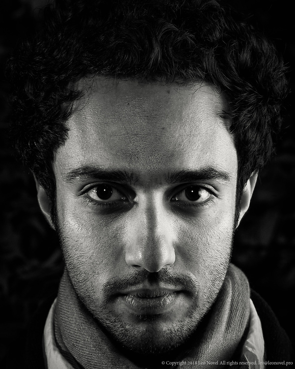 Shayan Fathi, the drummer and percussionist for Persian jazz band Sehrang poses for a portrait.