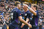 14 Tommy Seymour is congratulated by team mates after scoring try during the 2018 Autumn Test match between Scotland and Fiji at Murrayfield, Edinburgh, Scotland on 10 November 2018.