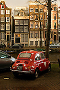 """Just Married"", Fiat 500 by canal, Amsterdam"