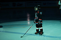 KELOWNA, CANADA - MARCH 3:  The Pepsi player of the game stands on the blue line at the Kelowna Rockets against the Portland Winterhawks on March 3, 2019 at Prospera Place in Kelowna, British Columbia, Canada.  (Photo by Marissa Baecker/Shoot the Breeze)