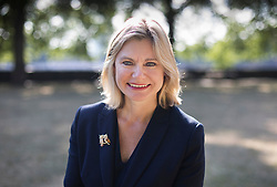 © Licensed to London News Pictures. 16/07/2018. London, UK. Justine Greening MP gives a television interview near Parliament. Ms Greening has said in an interview with The Times that a second referendum on leaving the EU should be held. Photo credit: Peter Macdiarmid/LNP