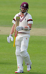 Dejection for Somerset's Tom Cooper after being dismissed. Photo mandatory by-line: Harry Trump/JMP - Mobile: 07966 386802 - 09/05/15 - SPORT - CRICKET - Somerset v New Zealand - Day 2- The County Ground, Taunton, England.