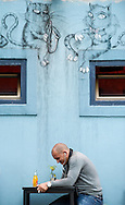 Cafe and street art on Tkalciceva street in Zagreb, Croatia © Rudolf Abraham