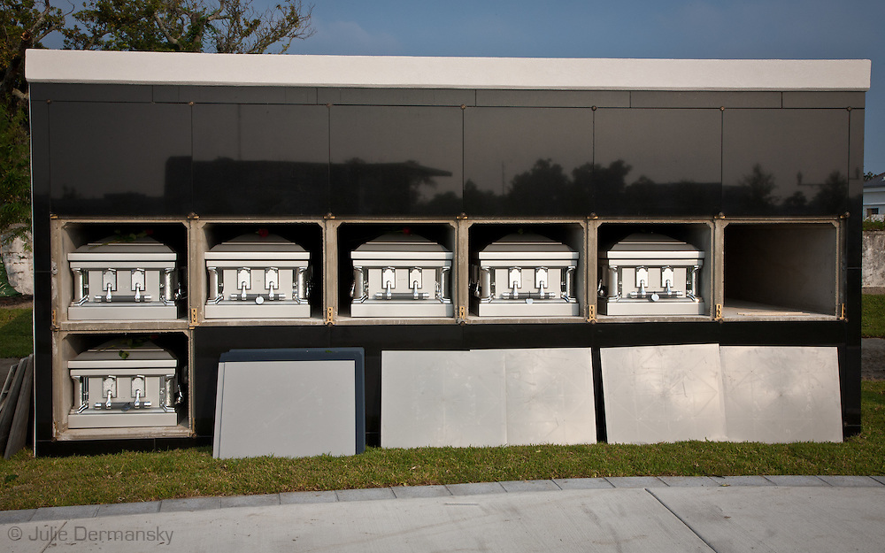 Caskets placed inside a tomb for unidentified Katrina Victims.