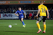 AFC Wimbledon midfielder Max Sanders (23) dribbling and about to take on Southend United midfielder Sam Mantom (18) during the EFL Sky Bet League 1 match between AFC Wimbledon and Southend United at the Cherry Red Records Stadium, Kingston, England on 1 January 2020.