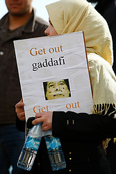 A woman takes part in a protest organised by the Libyan community in Malta against the Libyan government's crackdown on demonstrators in Libya outside the Libyan Embassy in Attard, outside Valletta, February 21, 2011..Photo by Darrin Zammit Lupi