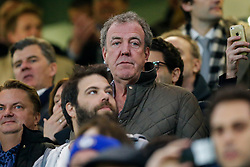 BBC Top Gear Presenter Jeremy Clarkson, suspended this week for allegedly punching a member of his production team, looks on from his seat in the stands - Photo mandatory by-line: Rogan Thomson/JMP - 07966 386802 - 11/03/2015 - SPORT - FOOTBALL - London, England - Stamford Bridge - Chelsea v Paris Saint-Germain - UEFA Champions League Round of 16 Second Leg.