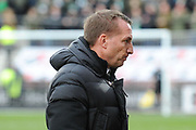 Brendan Rodgers looks glum during the Ladbrokes Scottish Premiership match between Heart of Midlothian and Celtic at Tynecastle Stadium, Gorgie, Scotland on 17 December 2017. Photo by Kevin Murray.