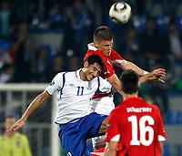Fotball , 7. oktober 2011 Aserbajan-Østerrike <br /> <br /> Kvalifisering EM,<br /> Bild zeigt Rauf Aliyev (AZE), Sebastian Proedl und Paul Scharner (AUT).<br /> Norway only