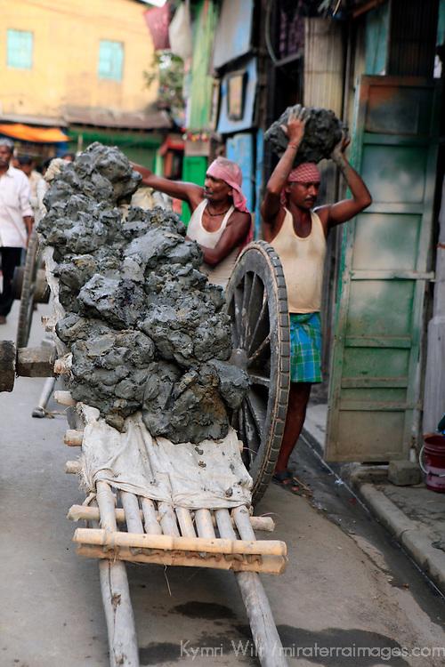 Asia, India, Calcutta. A cart of fresh clay the potter's village of Kumartuli in Calcutta.