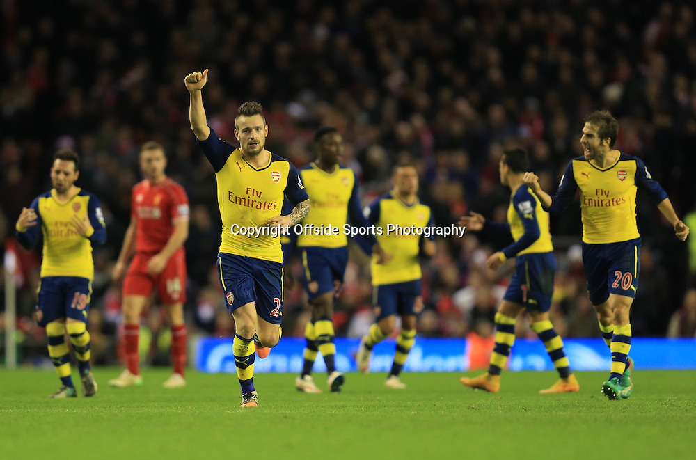 21 December 2014 - Barclays Premier League - Liverpool v Arsenal - Mathieu Debuchy of Arsenal celebrates scoring his goal - Photo: Marc Atkins / Offside.