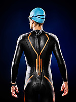one caucasian  man triathlon ironman swimmer swimming   isolated