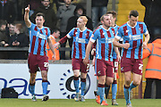 Tom Hopper of Scunthorpe United  celebrates scoring to go 1-0 upduring the Sky Bet League 1 match between Scunthorpe United and Colchester United at Glanford Park, Scunthorpe, England on 23 January 2016. Photo by Ian Lyall.