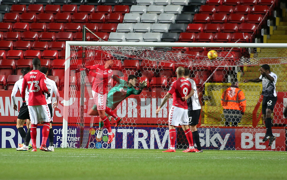 Anthony Grant of Peterborough United heads the ball off the goal-line - Mandatory by-line: Joe Dent/JMP - 28/11/2017 - FOOTBALL - The Valley - Charlton, London, England - Charlton Athletic v Peterborough United - Sky Bet League One