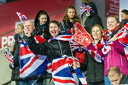 Great Britain supporters before the 2019 Women's FIH Pro League match at Lee Valley Hockey Centre, Stratford<br /> Picture by Simon Parker/Focus Images Ltd <br /> 03/05/2019