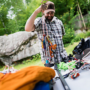 Kevin gearing up for an alpine ascent of Forbidden Peak at his home in Berlin, NH