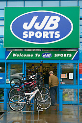 © Licensed to London News Pictures.  24/09/2012. AYLESBURY, UK. General view of a branch of JJB Sports taken today (Monday 24th). The retail chain has entered administration after failing to find a buyer. Photo credit :  Cliff Hide/LNP