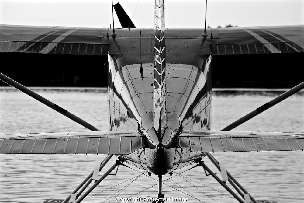 Seaplane on Lake Spenard Black and White