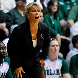 November 19, 2011; New Orleans, LA; Tulane Green Wave head coach Lisa Stockton against the LSU Lady Tigers during the first half of a game at Avron B. Fogelman Arena.  Mandatory Credit: Derick E. Hingle-US PRESSWIRE