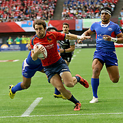 Pablo Fontes scores the first try in Spain's 24-0 victory over Manu Samoa at the Canada 7's, Day 2, BC Place, Vancouver, British Columbia, Canada.  Photo by Barry Markowitz, 3/11/18, 12pm