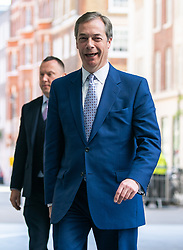 © Licensed to London News Pictures. 12/05/2019. London, UK. Leader of the Brexit Party Nigel Farage arriving at BBC Broadcasting House to appear on The Andrew Marr Show this morning. Photo credit : Tom Nicholson/LNP