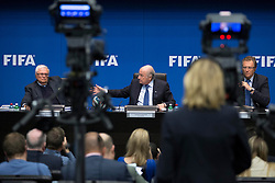 21.03.2014, Home of FIFA, Zuerich, SUI, FIFA, Pressekonferenz des Exekutivkomitee, im Bild Theo Zwanziger (L), FIFA Praesident Joseph Sepp Blatter, Generalsekretaer Jerome Valcke // during a press conference of the FIFA Executive Committee at the Home of FIFA in Zuerich, Switzerland on 2014/03/21. EXPA Pictures © 2014, PhotoCredit: EXPA/ Freshfocus/ Andreas Meier<br /> <br /> *****ATTENTION - for AUT, SLO, CRO, SRB, BIH, MAZ only*****