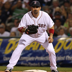 March 14, 2011; Fort Myers, FL, USA; Boston Red Sox first baseman Adrian Gonzalez (28) during a spring training exhibition game against the New York Yankees at City of Palms Park.   Mandatory Credit: Derick E. Hingle