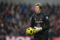 WOLVERHAMPTON, ENGLAND - Saturday, January 22, 2011: Wolverhampton Wanderers' goalkeeper Wayne Hennessey in action against Liverpool during the Premiership match at Molineux. (Photo by David Rawcliffe/Propaganda)
