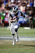 Los Angeles Rams defensive back Sam Shields (37) runs with the ball as he intercepts a fourth quarter pass and runs it back 22 yards to the Arizona Cardinals 25 yard line during the 2018 NFL regular season week 2 football game against the Arizona Cardinals on Sunday, Sept. 16, 2018 in Los Angeles. The Rams won the game in a 34-0 shutout. (©Paul Anthony Spinelli)