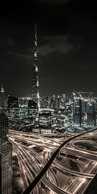 Looking towards Burj Khalifa, from the top of the Shangri La Hotel the view of the city is impressive enough. However i wanted a but more, so the image was edited with subdued colours to blur the lines between in image and a drawing...