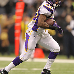 Jan 24, 2010; New Orleans, LA, USA; Minnesota Vikings running back Adrian Peterson (28) runs against the New Orleans Saints during the first quarter of the 2010 NFC Championship game at the Louisiana Superdome. Mandatory Credit: Derick E. Hingle-US PRESSWIRE