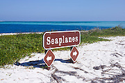 A sign for seaplane parking on the Dy Tortugas in the Florida Keys.