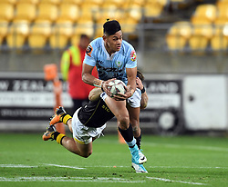 Northland's Solomon Alaimalo tackled by Wellington's Wes Goosen in the Mitre 10 Semi Final Rugby match at Westpac Stadium, Wellington, New Zealand, Friday, October 20, 2017. Credit:SNPA / Ross Setford  **NO ARCHIVING**