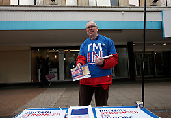 UK ENGLAND LONDON CROYDON 16APR16 - Alan Bedford of the I'm In campaign mans his stall on the Croydon high street in south London.<br /> <br /> jre/Photo by Jiri Rezac<br /> <br /> © Jiri Rezac 2016