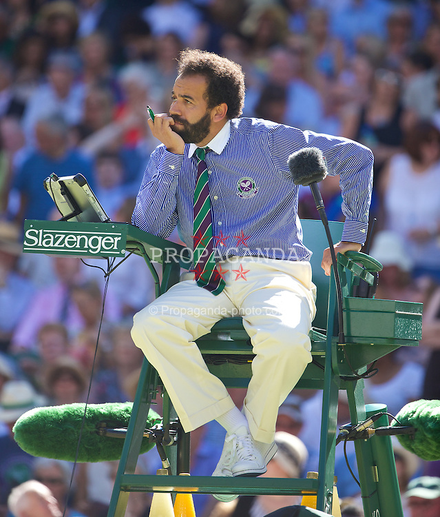 LONDON, ENGLAND - Thursday, July 3, 2014: Chair umpire Kader Nouni during the Ladies' Singles Semi-Final match on day ten of the Wimbledon Lawn Tennis Championships at the All England Lawn Tennis and Croquet Club. (Pic by David Rawcliffe/Propaganda)
