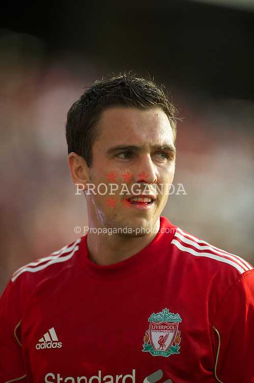 OSLO, NORWAY - Monday, August 1, 2011: Liverpool's Stewart Downing in action against Valerenga during a preseason friendly match at the Ulleval Stadion. (Photo by David Rawcliffe/Propaganda)