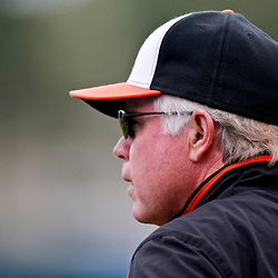 Mar 1, 2013; Sarasota, FL, USA; Baltimore Orioles manager Buck Showalter during the top of the first inning of a spring training game against the Pittsburgh Pirates at Ed Smith Stadium. Mandatory Credit: Derick E. Hingle-USA TODAY Sports