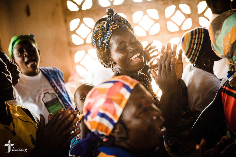 Church members joyfully sing during worship at the Lutheran Church of Togo in Mire on Sunday, Feb. 12, 2017, in Mire, Togo. LCMS Communications/Erik M. Lunsford