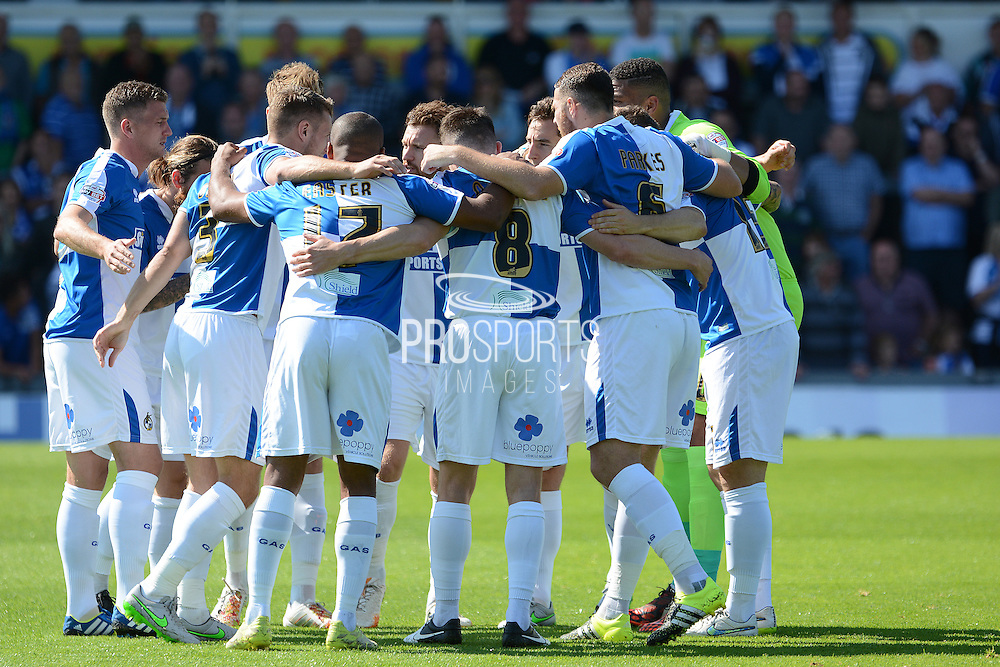 Bristol Rovers team talk during the Sky Bet League 2 match between Bristol Rovers and Oxford United at the Memorial Stadium, Bristol, England on 6 September 2015. Photo by Alan Franklin.