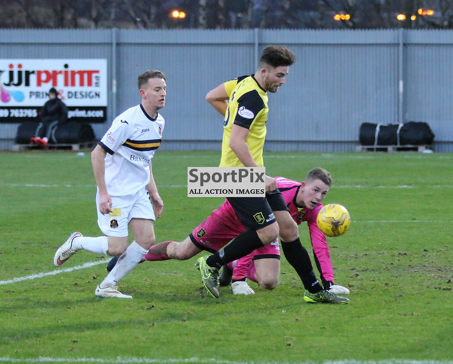 Tom Walsh shot is saved by McCallum during the  Dumbarton v Livingston  Scottish Championship 30 January 2016<br /> <br /> (c) Andy Scott | SportPix.org.uk