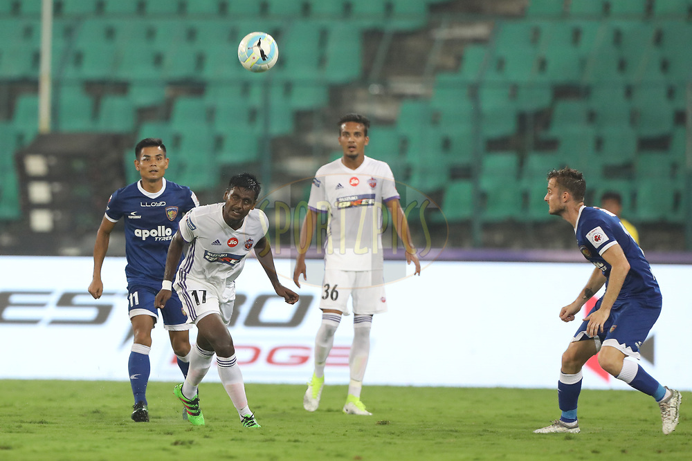 Rohit Kumar of FC Pune City  fight for ball during match 46 of the Hero Indian Super League between Chennaiyin FC and FC Pune City held at the Jawaharlal Nehru Stadium, Chennai India on the 13th January 2018<br /> <br /> Photo by: Arjun Singh  / ISL / SPORTZPICS