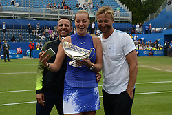 June 25, 2017 - Birmingham, England - PETRA KVITOVA and her team take a selfie with the Maud Watson trophy after Petra won the Aegon Classic Birmingham tennis tournament. (Credit Image: © Christopher Levy via ZUMA Wire)