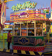 Europe, Germany, North Rhine-Westphalia, Ruhr area, Herne, the kermis in the district Crange [the kermis in Crange is the biggest fair in North Rhine-Westphalia], the box office of the fairground ride Revolution.....Europa, Deutschland, Nordrhein-Westfalen, Ruhrgebiet, Herne, die Cranger Kirmes im Stadtteil Crange [die Cranger Kirmes ist das groesste Volksfest in Nordrhein-Westfalen], das Kassenhaeuschen des Fahrgeschaefts Revolution.....[For each usage of my images the General Terms and Conditions are mandatory.]
