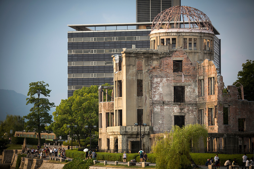 HIROSHIMA, JAPAN - AUGUST 4 : Tourists visit the Atomic Bomb Dome two days prior to 71st anniversary of the bombing in Hiroshima at the Hiroshima Peace Memorial Park, western Japan, Thursday August 4, 2016. The Genbaku Dome also known as the Atomic Bomb Dome is now a symbol for peace within the Hiroshima Peace Memorial Park. The building was one of the few left standing when the first atomic bomb 'Little Boy' was dropped by the United States from the Enola Gay on August 6, 1945. (Photo: Richard Atrero de Guzman/NURPhoto)