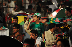 August 13, 2017 - Rawalpindi, Punjab, Pakistan - Activist of Pakistan Tehreek Insaf gathered at the Liaquat Bagh public gathering of Awami Muslim League and Pakistan Tehreek Insaf in Rawalpindi. (Credit Image: © Zubair Abbasi/Pacific Press via ZUMA Wire)