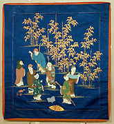 Gift cover.  Dark blue satin weave silk with embroidery.  The Seven Sages represent a group of third century Chinese scholars who met in a bamboo grove to relax, drink and discuss Taoist philosophy.  In Japan they are popularly equated with the Seven Gods.