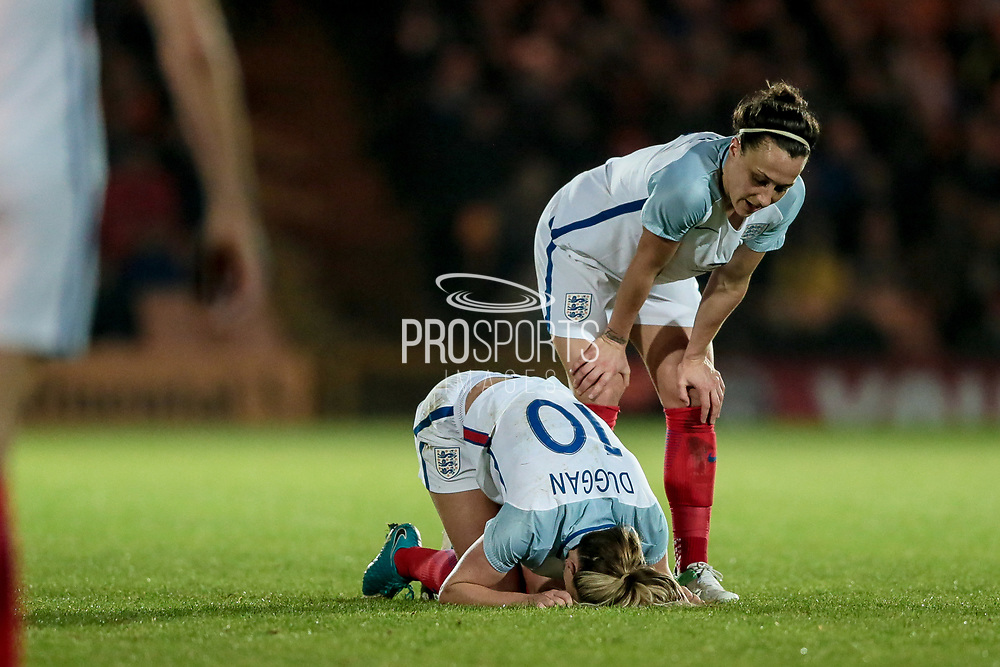 Concern as Toni Duggan (England) (Manchester City) is down during the Women's International Friendly match between England Ladies and Italy Women at Vale Park, Burslem, England on 7 April 2017. Photo by Mark P Doherty.
