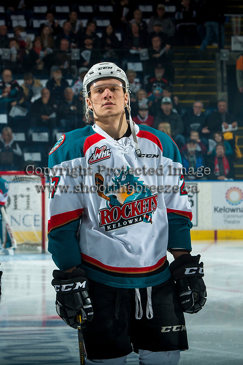 KELOWNA, CANADA - APRIL 7: Calvin Thurkauf #27 of the Kelowna Rockets lines up against the Portland Winterhawks on April 7, 2017 at Prospera Place in Kelowna, British Columbia, Canada.  (Photo by Marissa Baecker/Shoot the Breeze)  *** Local Caption ***