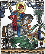 St George killing the dragon. Half legendary Christian soldier from Cappodocia martyred under Diocletian, 303. In First Crusade English adopted him as their saint.